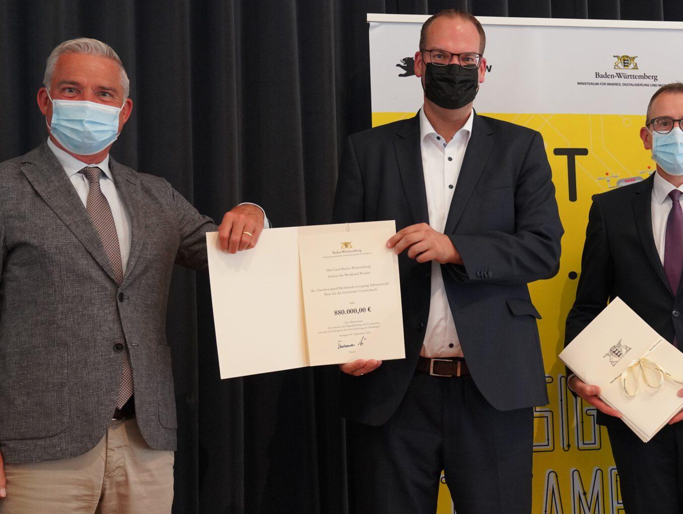 Das Land Baden-Württemberg fördert Unterkirnacher Ausbauprojekt des Zweckverbands Breitbandversorgung Schwarzwald-Baar mit 880.000 Euro